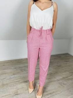 Spodnie Salerno w różowo czerwoną krateczkę