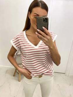 T-Shirt BASIC w różowe paski